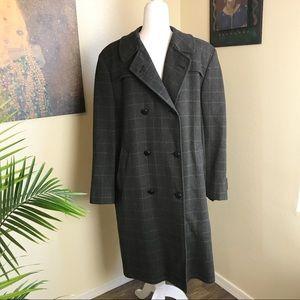 Aquascutum of London plaid wool trench coat 40R